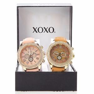 Xoxo crystal bezel chronograph watch 2 pieces set